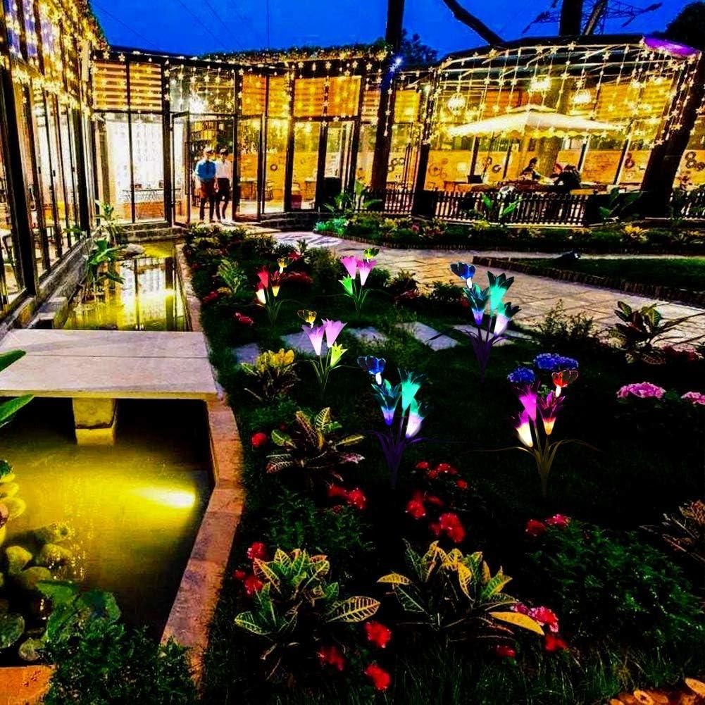 Solarleuchte Garten f/ür Au/ßen 2 Packung Solar Lampe Lilie Blumen Solarlicht mit Farbwechsel LED Beleuchtung Dekoration Lichter f/ür Garten Rasen Balkon Terrasse Feld Weg