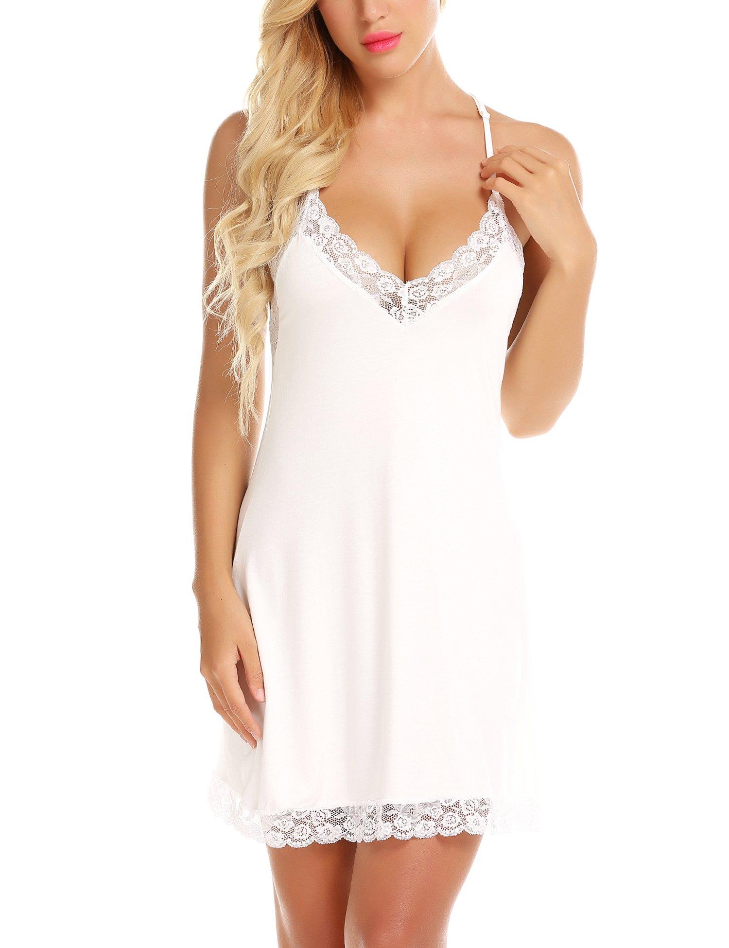 RSLOVE Women Lace Lingerie Sleepwear Chemises V-Neck Full Slip Babydoll Nightgown Dress White L