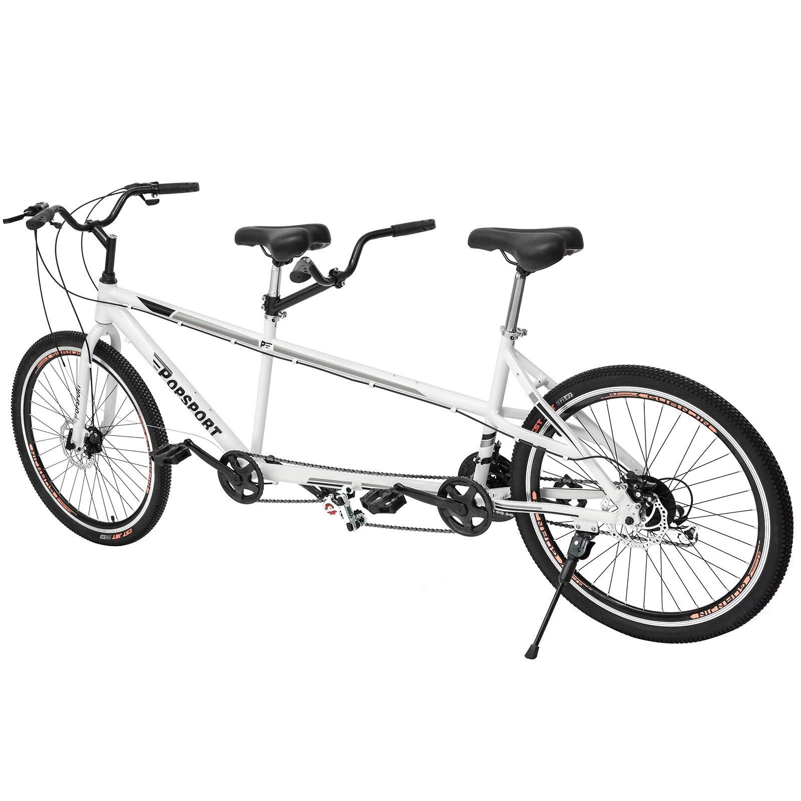 Mophorn Dual Drive Tandem Bike 26 Inch Wheel Aluminium Alloy Twinn Tandem Bicycle 7 Mechanical Disc Brakes (Grey) by Mophorn