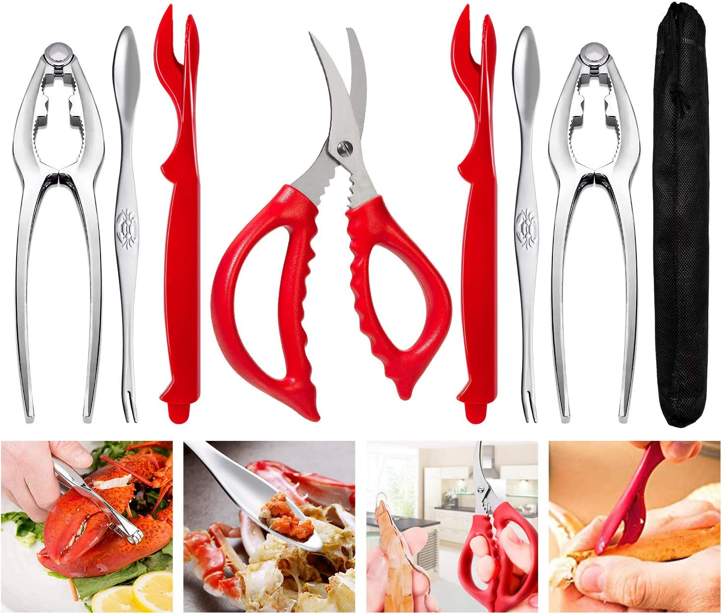 4 Crab Leg Forks//Picks 4 Lobster Sheller Knives 10 PCS Seafood Tools Crab Leg Crackers and Tools Including 2 Lobster Crab Crackers