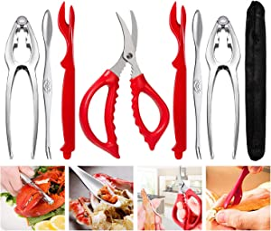Crab Crackers and Tools, Crab Leg Crackers and Picks Set, Picks Knife for Crab, Shellfish Scissors Nut Cracker, Stainless Steel Seafood Utensils Crackers & Forks Cracker