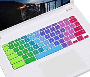 "Colorful Keyboard Skin for 2019/2018 Lenovo Chromebook C330 11.6"" / Flex 11 Chromebook/Chromebook N20 N21 N22 N23 100e 300e 500e 11.6""/ Chromebook N42 N42-20 14 inch Chromebook Keyboard Cover, Rainbow"