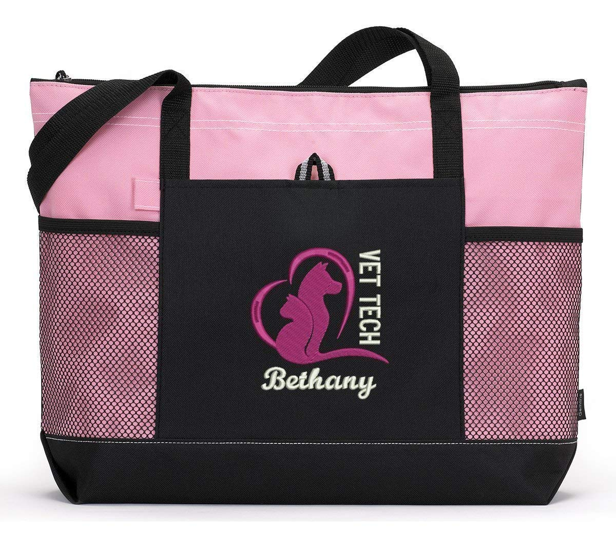 Vet Tech Animal Love Embroidered Zippered Tote Bag With Mesh Pockets