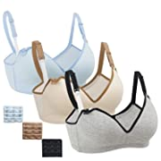 Nursing Bra,Womens Maternity Breastfeeding Bra Wireless Sleeping Bralette Extenders,Gray Nude LightBlue,XL Size