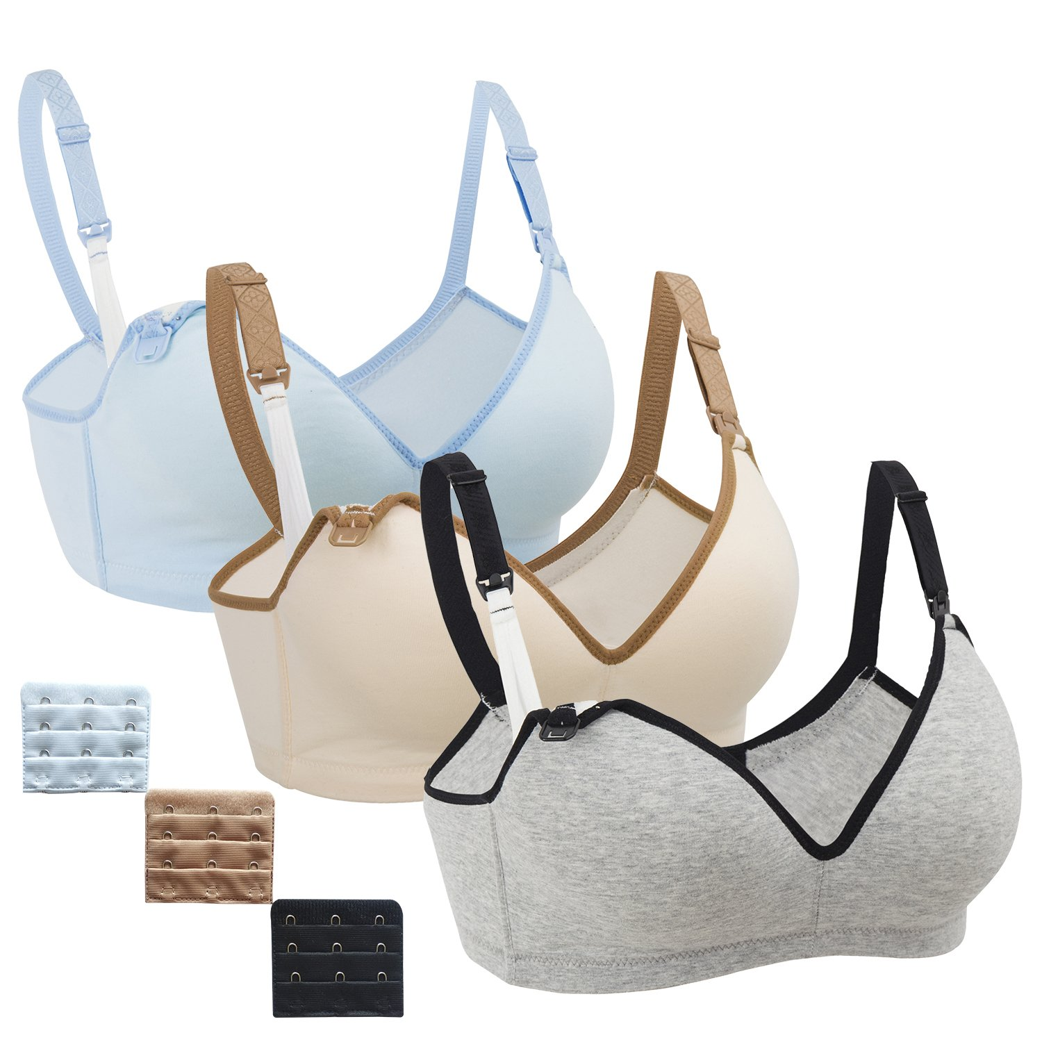 3Pack Nursing Bra,Womens Maternity Breastfeeding Bra Wireless Sleeping Bralette Extenders