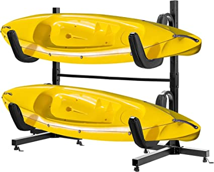 Amazon Com Vivohome Heavy Duty Freestanding Dual Storage Rack Height Adjustable Carrier Stand For Kayaks Sup Paddle Boards And Canoes Sports Outdoors