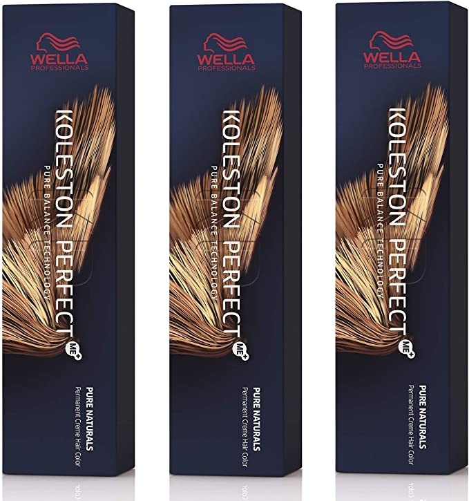 Wella - Tinte para el cabello Koleston Perfect Me+ KP Pure Naturals 9/0 , 3 unidades, color rubio claro