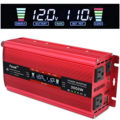 Cantonape 1500W/3000W(Surge) Car Power Inverter 12V to 110V AC with LCD Display Dual AC Outlets and Dual 3.1A USB Car Adapter, Replaceable Fuses for Car Home Truck (1500W-Red): Car Electronics