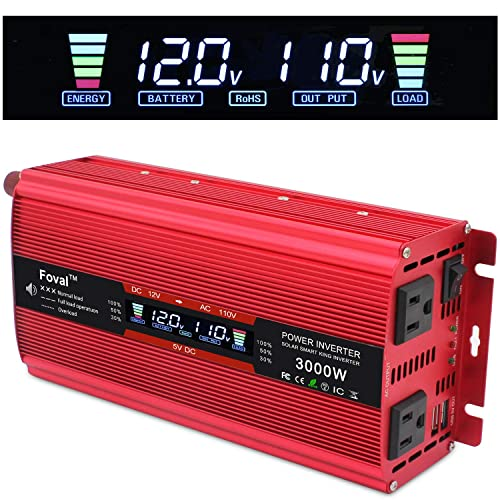 Cantonape 1500W 3000W Surge Car Power Inverter 12V to 110V AC with LCD Display Dual AC Outlets and Dual 3.1A USB Car Adapter, Replaceable Fuses for Car Home Truck