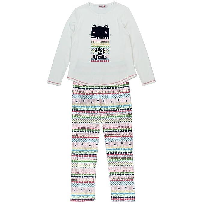 boboli Interlock Pyjamas for Girl, Conjuntos de Pijama para Niñas, Marfil (Off White