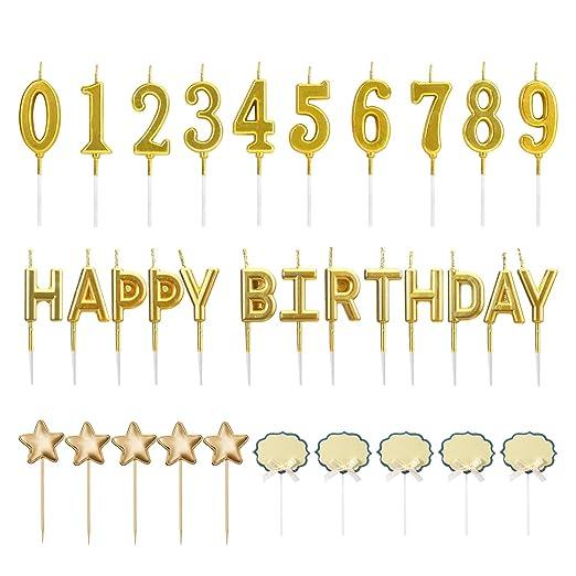Meetory 23 Piezas Dorado cumpleaños número Letras Pastel ...