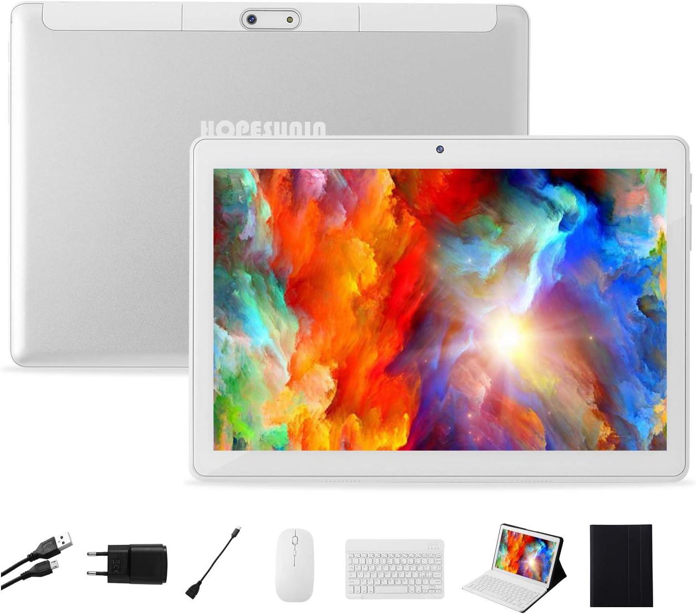 HOPESUNIN Tableta Android de 10.1 Pulgadas con Sistema operativo Android 9 Pie, 4GB RAM + 64GB ROM-certificación gsm de Google, Tableta ultradelgada de 8000mAh / 5MP + 8MP / Type-C(White)