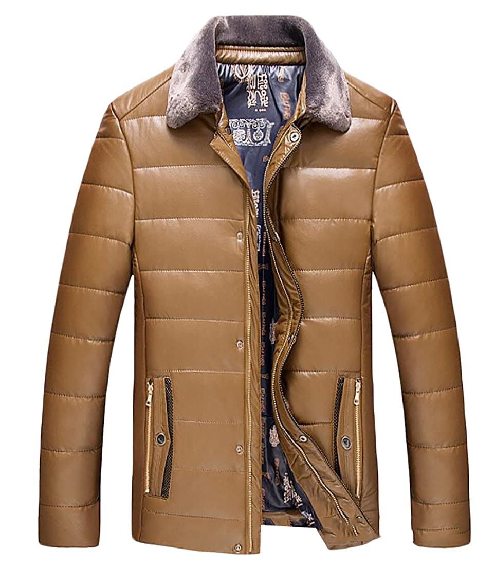 Gnao Mens Casual Winter Faux Fur Warm PU Leather Outwear Thicken Jacket