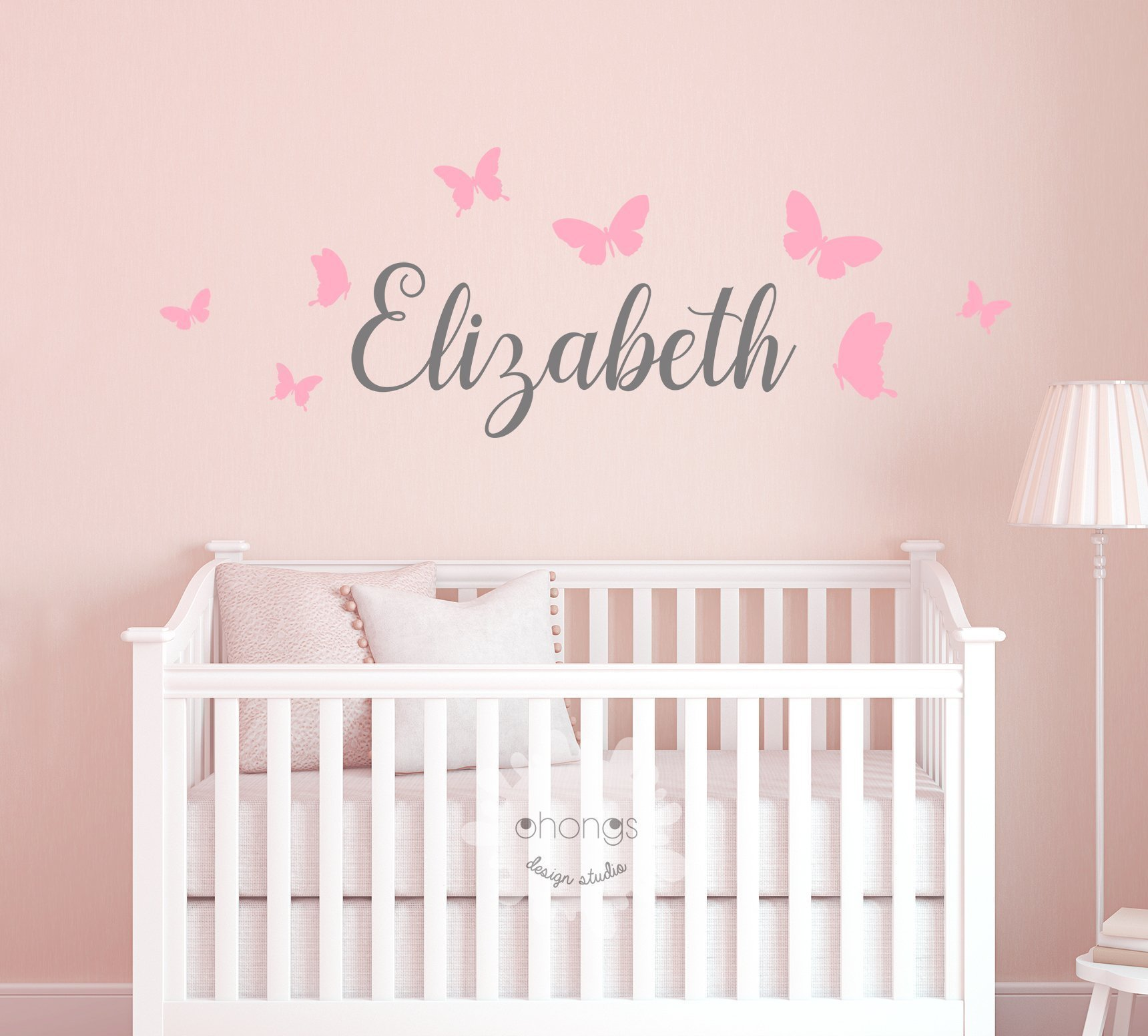 Kids Name Wall Decal/Kids room/Nursery decal/Custom name sticker/Personalized Wall Decal/Baby Name Decal/butterfly name by Ohongs Design Studio