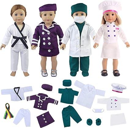 3 Pcs//lot Dress Apron Hat Chef Clothes Doll for s Dolls Toy P*US