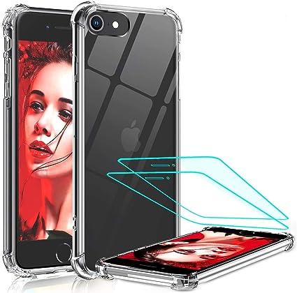 LeYi per Cover iPhone SE 2020 con 2 Pellicola Protettiva in Vetro Temperato, Antiurto Silicone Trasparente Custodia Rigida PC Bumper TPU Smartphone ...