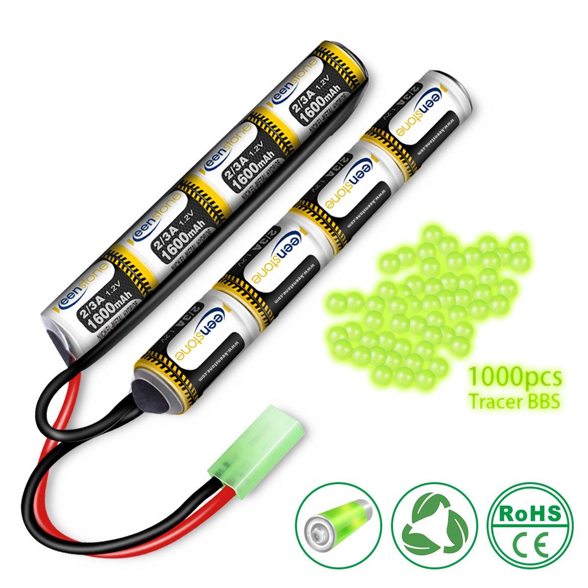 Keenstone Airsoft Batterie Bâton NiMH 9, 6 V 1600 mAh Nunchuk Bâton pour Fusil à Air Comprimé ICS CA TM SRC JG G36 G&M734 etc + Mini Connecteur Tamiya de Haute Décharge