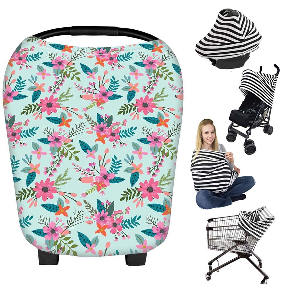 Nursing Breastfeeding Cover Scarf - Baby Car Seat Canopy, Shopping Cart, Stroller, Carseat Covers Best Baby Shower Gift for Girls and Boys - Multi-Use Infinity Stretchy Shawl (Color-24) Bestbaby