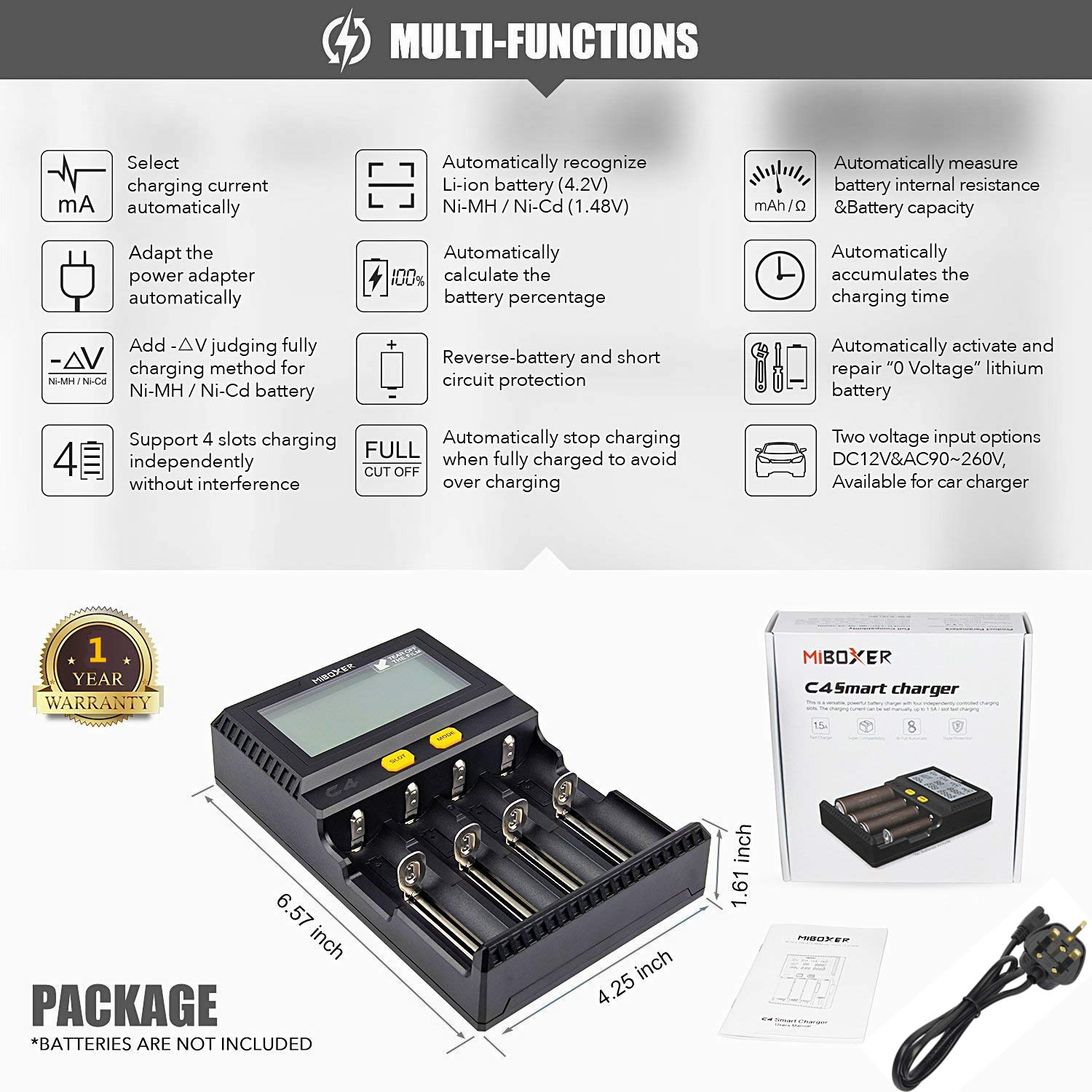 18650 Smart Battery Charger Universal Intelligent 4 Slot Automatic LCD Display for Li-ion Ni-MH Ni-Cd AA AAA AAAA C 21700 20700 22650 18490 18350 RCR123 Fire Prevention Material