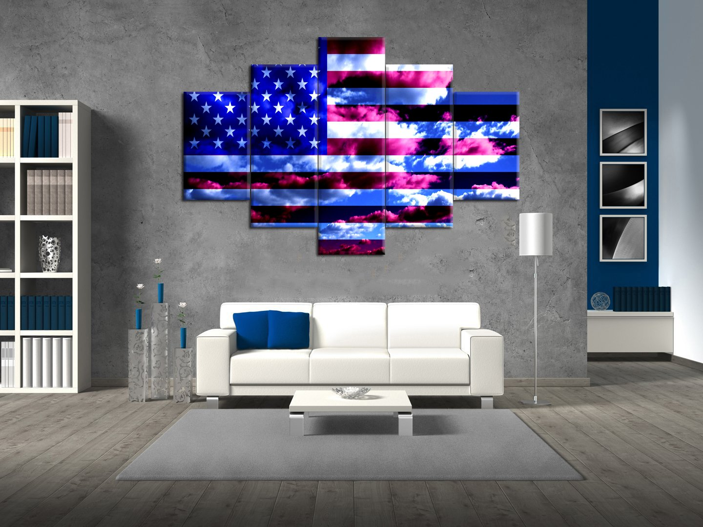 Extra Large American Flag Painting on Canvas Blue Sky Print Pictures Posters and Prints Framed Wooden Modern Wall Art for Living Room Bedroom Home Decor Gallery-wrapped Art 5 Panel Set(60''W x 40''H) by Yatsen Bridge