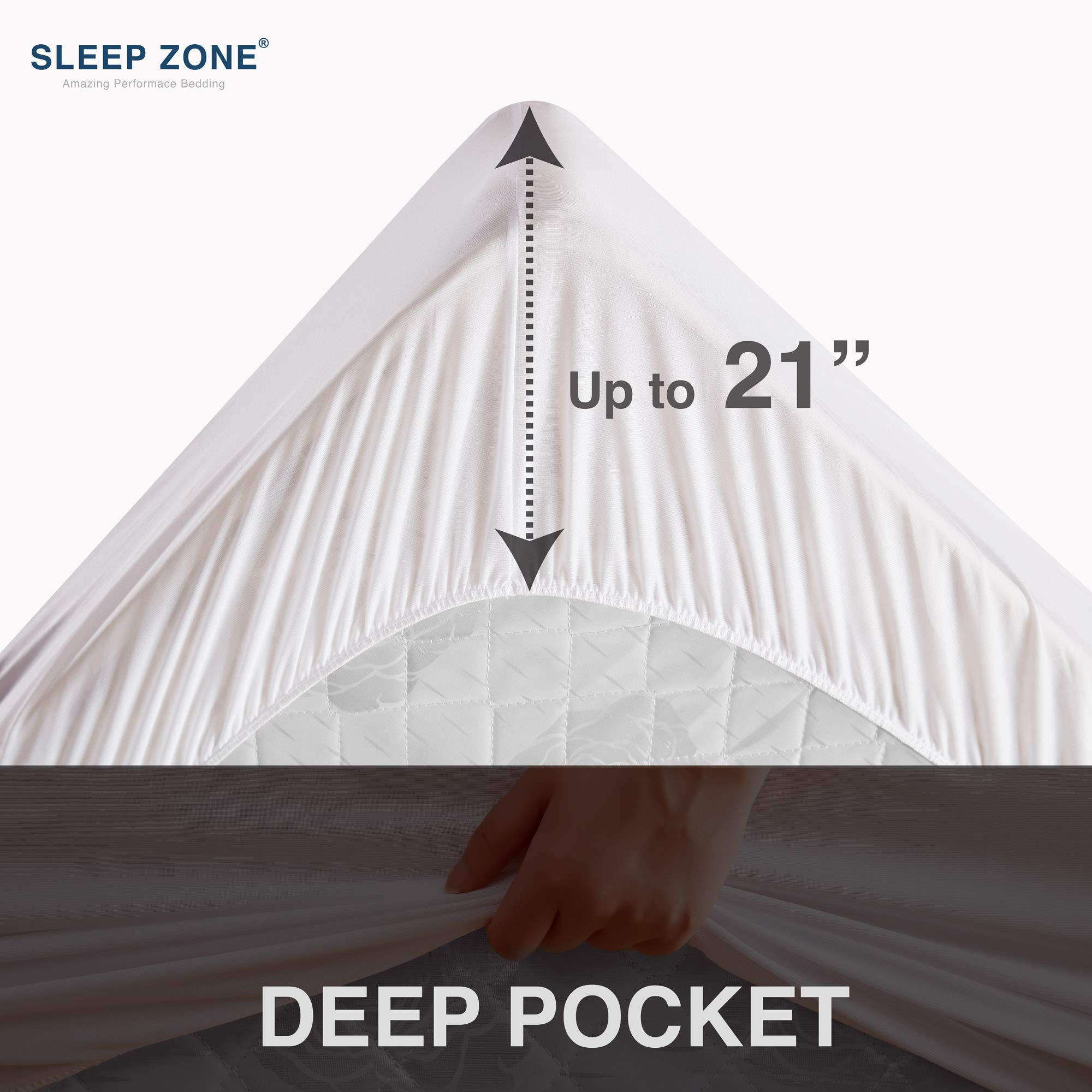 Sleep Zone Quilted Mattress Pad Cover Queen Cooling Fluffy Topper Upto 21 inch Pocket,White,Queen