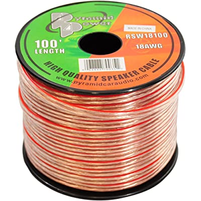 100ft 18 Gauge Speaker Wire - Copper Cable in Spool for Connecting Audio Stereo to Amplifier, Surround Sound System, TV Home Theater and Car Stereo - RSW18100: Car Electronics