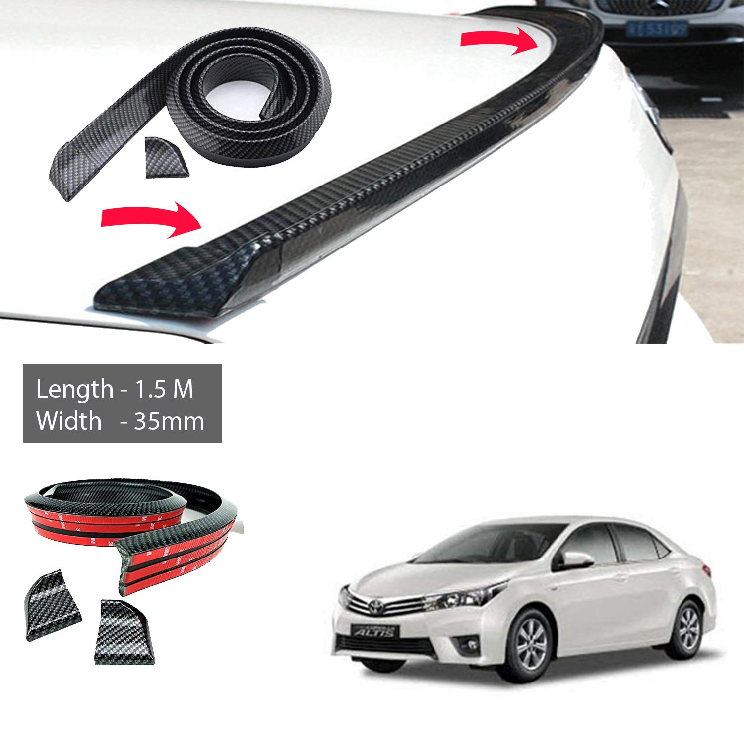 5m x 35mm carbon fiber car rear roof trunk spoiler wing lip sticker carbon black for toyota corolla altis old amazon in car motorbike