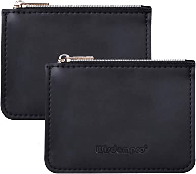 Wisdompro RFID Credit Card Holder, 2 Pack PU Leather Coin Purse Change Wallet