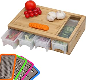 Bamboo Cutting Board with Trays/Drawers and Graters, Choping Board with Food Sliding Opening, 4 Dishwasher and Microwave Safe Storage Containers with Lids, Easy for Dishes Prep, Kitchen Space Saver