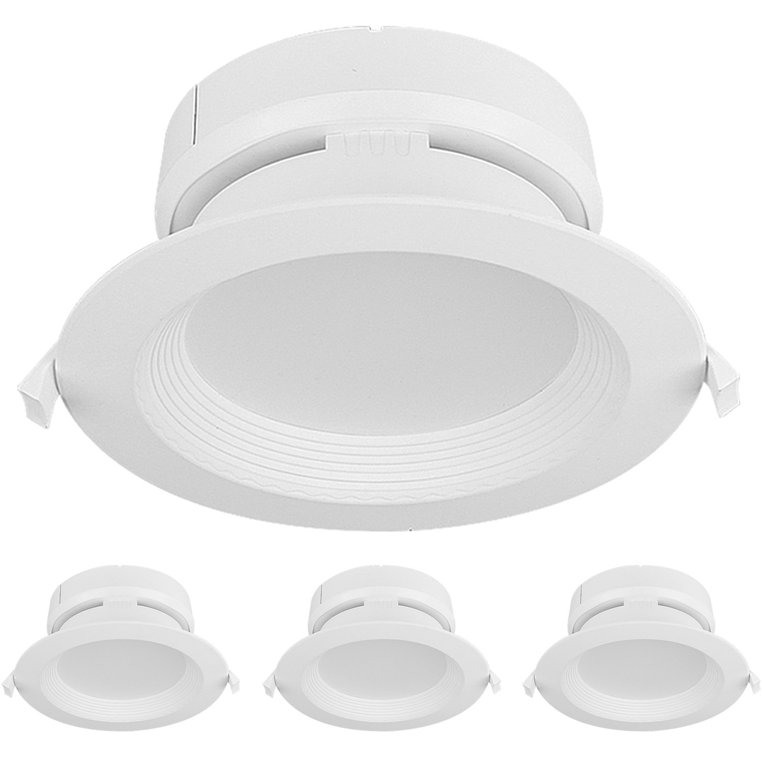 Hykolity 5/6 Inch LED Recessed Downlight Kit with Junction box, 15W 1500lm 5000K Daylight Dimmable Remodeling LED downlight kit, 120V-277V, Airtight& IC Rated Wet Location, ETL&Energy Star- 4 Pack