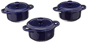 Staub Ceramic Round Mini Cocotte 3-pc Set - Dark Blue