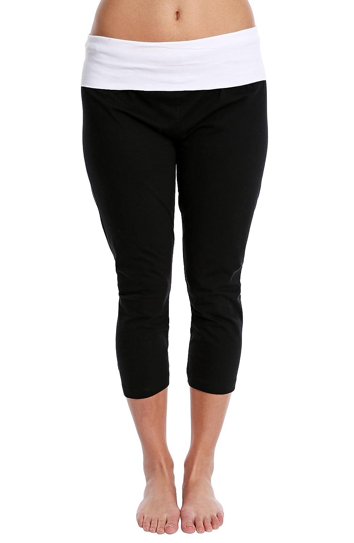 10ac5652c585 Nouveau Women s Workout Active Capri Yoga Pants with Contrasting Color Waistband  Casual Loungewear