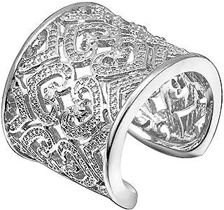 cosanter Herren Ring Anello In Acciaio Inox con cristallo argento