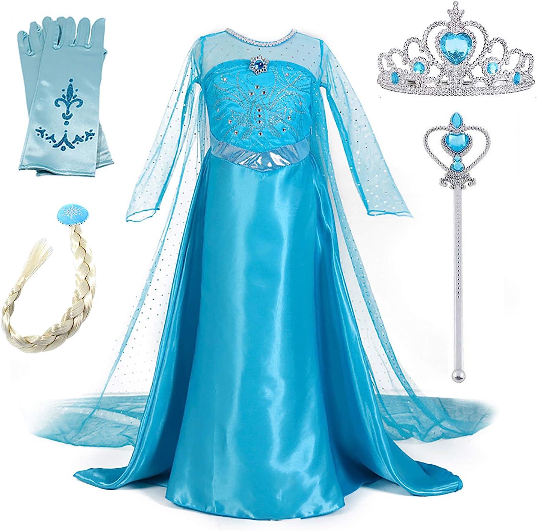 New front Niñas Vestido de Princesa Elsa Elegante Disfraz de Reina Frozen Festivo y Accesorios Corona,Vara,Trenza,Guantes Chica Cosplay Traje de Fiesta Carnaval Navidad Boda(2-10 Años,Azul,110-150cm)