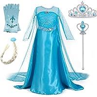 New front Niñas Vestido de Princesa Elsa Elegante
