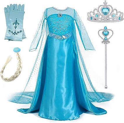 New front Niñas Vestido de Princesa Elsa Elegante Disfraz de Reina ...