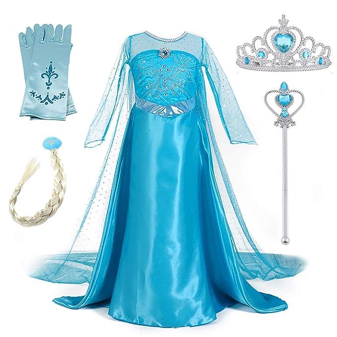 New front Niñas Vestido de Princesa Elsa Elegante Disfraz de Reina Frozen Festivo y Accesorios Corona,Vara,Trenza,Guantes Chica Cosplay Traje de ...