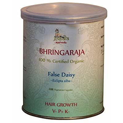 100% Organic Bhringaraja False Daisy Eclipta alba 108 Vege Caps Hair Growth USDA Certified *Ship from UK