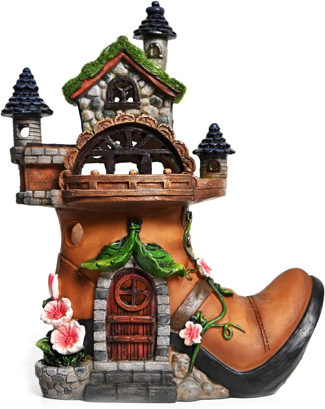 ASAWASA Flocked Boot House Solar Garden Statues and Sculptures Outdoor Decor,Garden Figurines with Solar Powered Lights for Patio,Lawn,Yard Art Decoration,Housewarming Garden Gift,7.9x4.1x9.7 Inch
