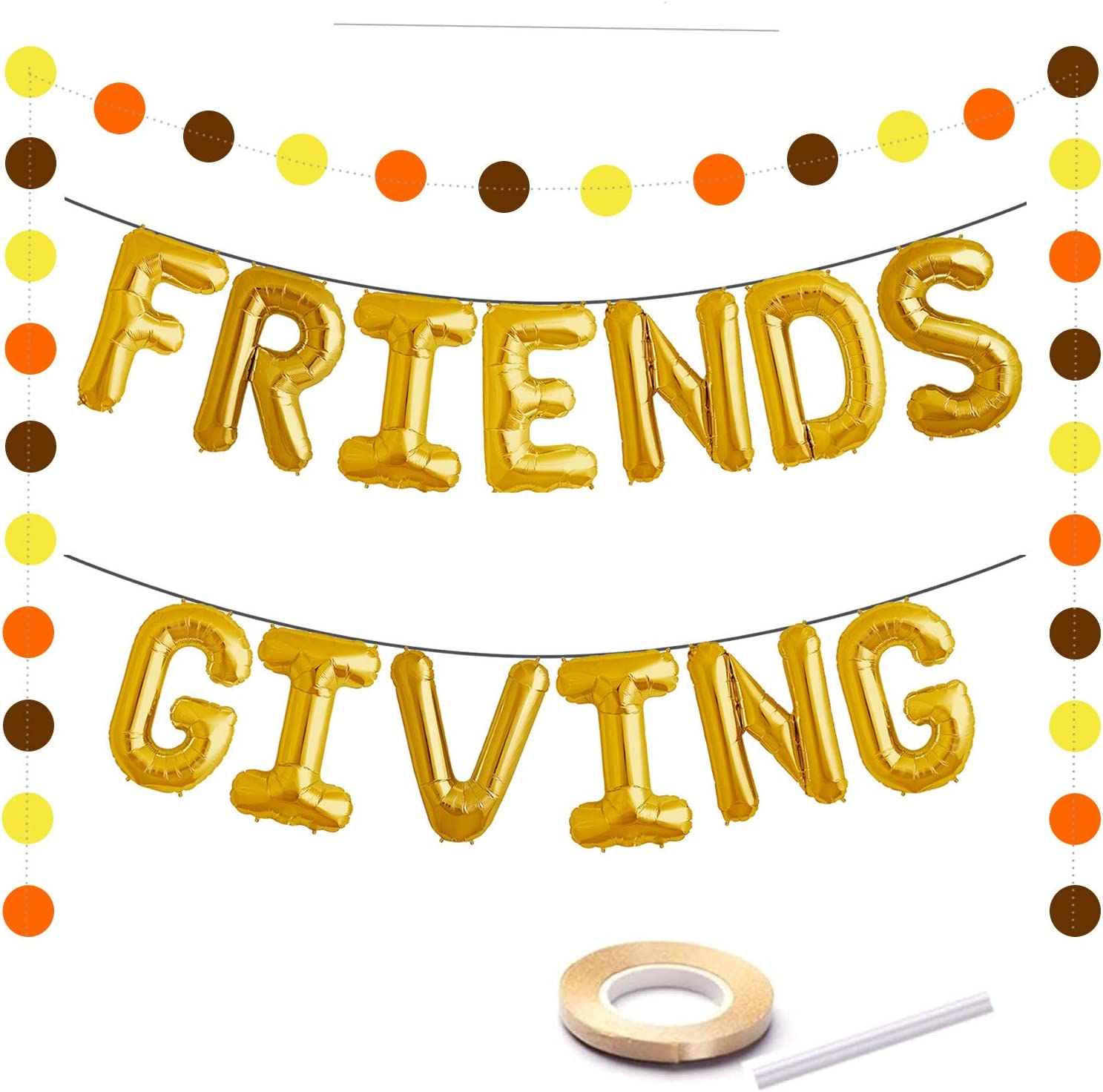 Friends Giving Decoration Gold Foil Letter 16 Inches Tall Balloons Banner Thanksgiving Centerpiece Friends Party Backdrop Fall Decor Circle Dots Garlands…