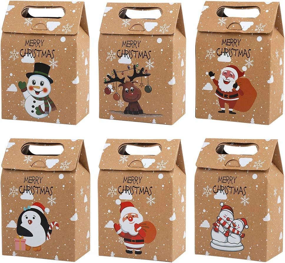 12 PCS Christmas Kraft Paper Bags, Kraft Cookies and Candy Bags Santa Claus Reindeer Xmas Folding Kraft Bags for Kids Party Favor Holiday New Year