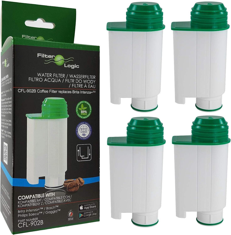 FilterLogic CFL-902B | Paquete de 4 - Filtro de agua compatible con Saeco Gaggia Philips CA6702/10 CA6702/00 CA6702 RI9113/60 Brita Intenza+ Cartucho filtrante para Máquina Cafetera de café y espresso
