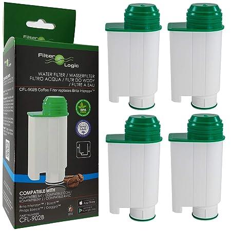 FilterLogic CFL-902B | Paquete de 4 - Filtro de agua compatible con Saeco Gaggia Philips CA6702/10 CA6702/00 CA6702 RI9113/60 Brita Intenza+ Cartucho ...