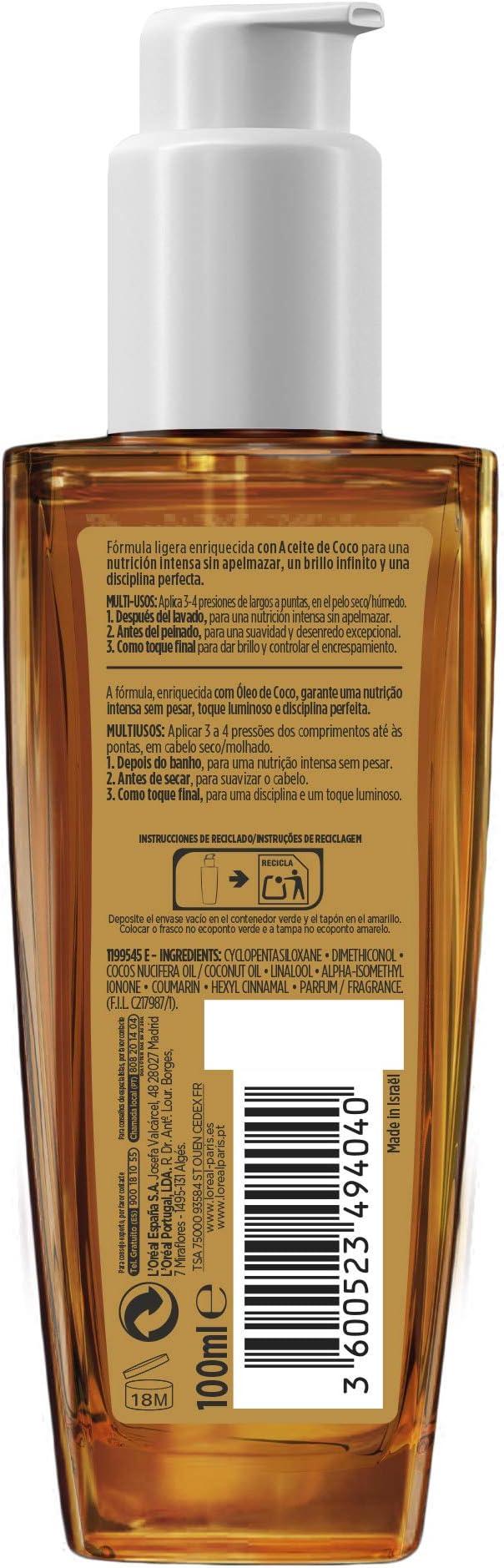 LOreal Paris Elvive Aceite Extraordinario de Coco, Tratamiento Universal, Para Pelos Normales a Secos y Sin Brillo, 100 ml