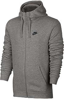5f9a97ba6 Nike Mens Sportswear Full Zip Club Hooded Sweatshirt Light Grey/Black 804389-066  Size