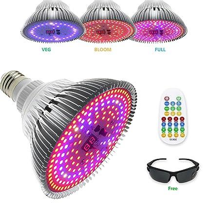 Planta E26//E27 50W Led Grow Light Blub Full Spectrum Controle Remoto Plantas De Interior