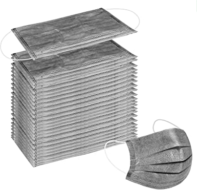 Wecolor 100 Pcs Disposable 3 Ply Earloop Face Masks, Suitable for Home, School, Office and Outdoors (Gray)