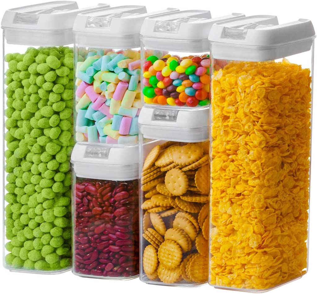 Numyton Airtight Food Storage Container Set of 6 with Lids made by Durable BPA-free Plastic for Keeping Food Dry & Fresh