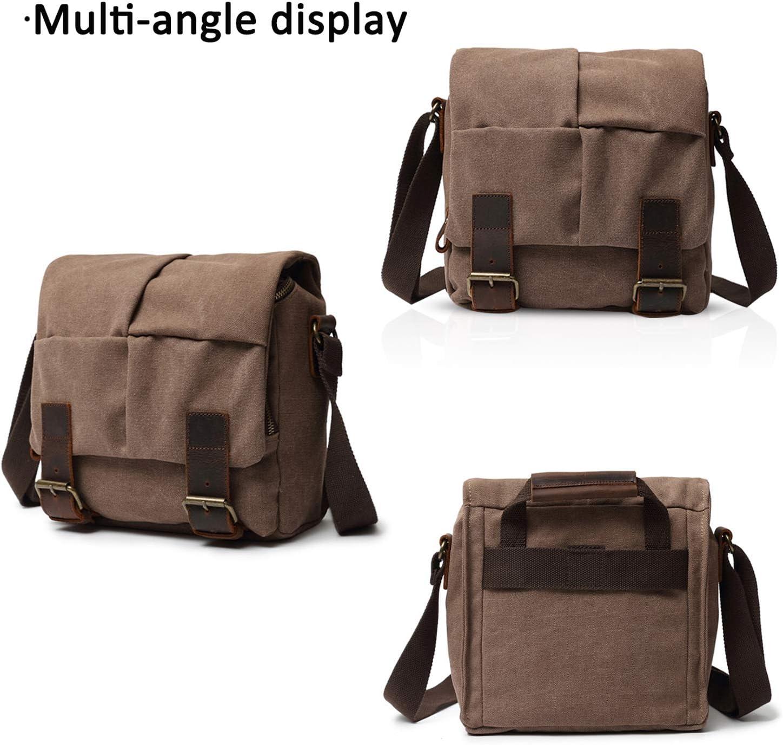 FANDARE Vintage Camera Crossbody Bag Unisex Multiple Pocket Shoulder Bag Canvas Khaki
