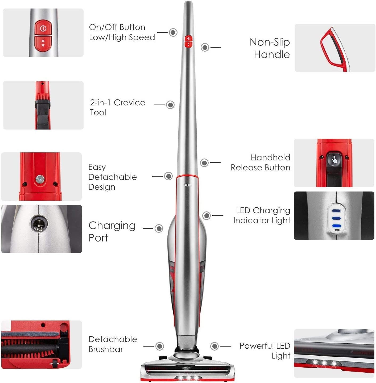 Deik Aspiradoras Hogar Escoba, Aspiradora de Mano Sin Cable 7000 pa, Aspiradoras Vertical con Batería de 2200mAh, 2 Velocidades, Luz LED, 2 Filtros Lavable, 2 Cepillos: Amazon.es: Hogar